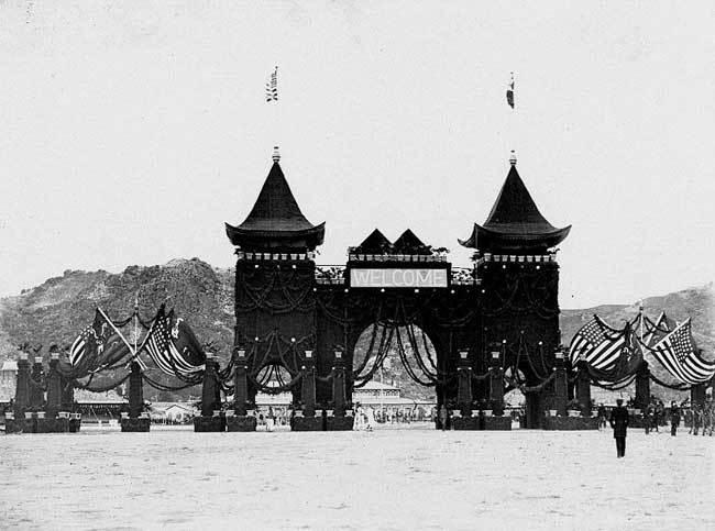 老照片:1908年美国舰队访问大清朝