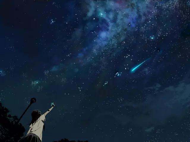 星空与流星的夜景插画