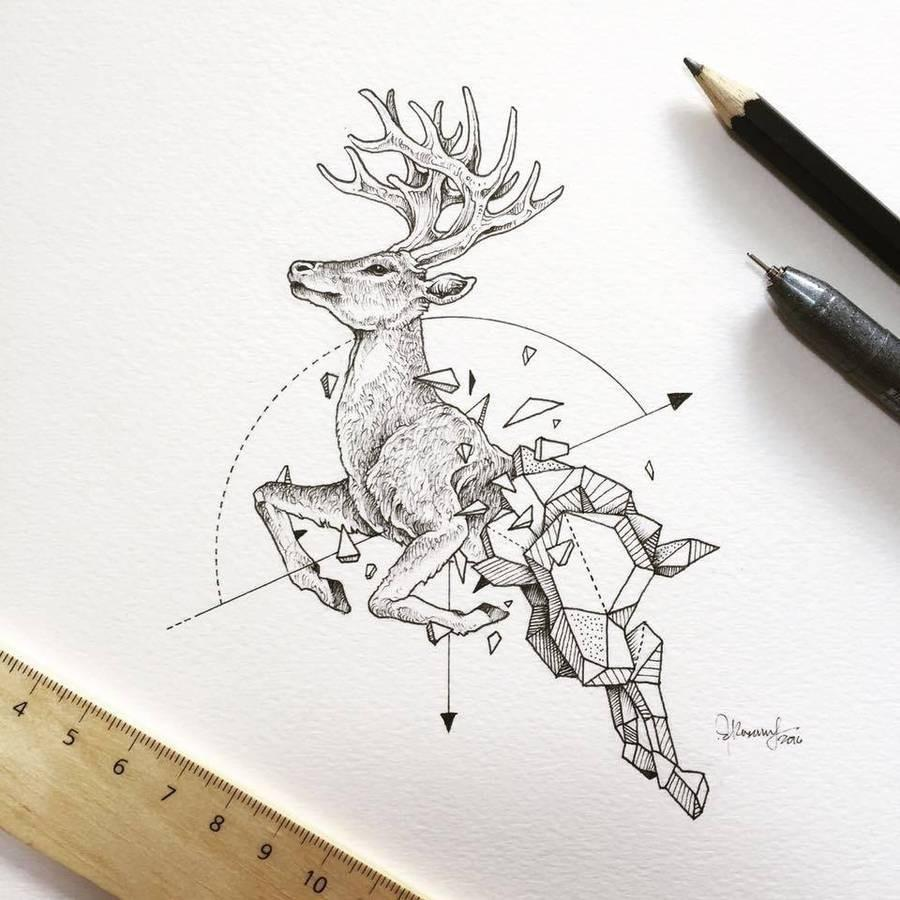 几何与动物结合的铅笔画, 有一种特殊之美