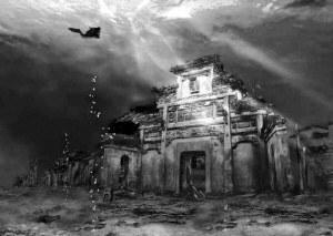 6名潜水员下水探究水下古城,意外发现一刻有2字的石碑,引大地震