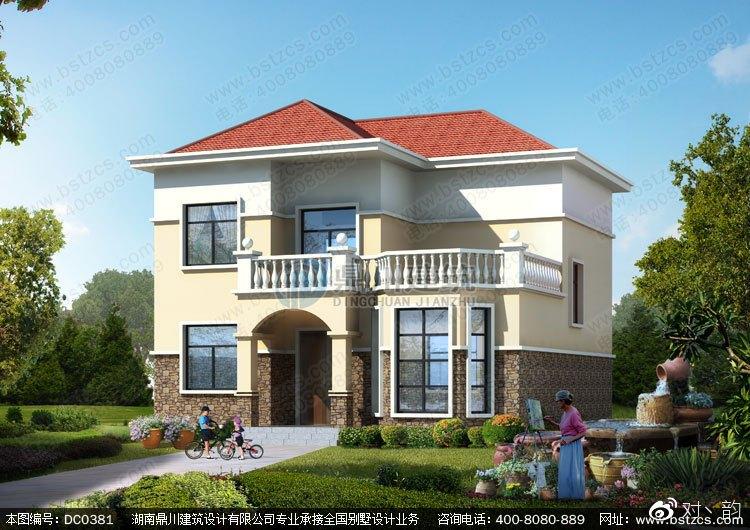 本款图纸为新农村二层带露台经济型小别墅设计效果图.