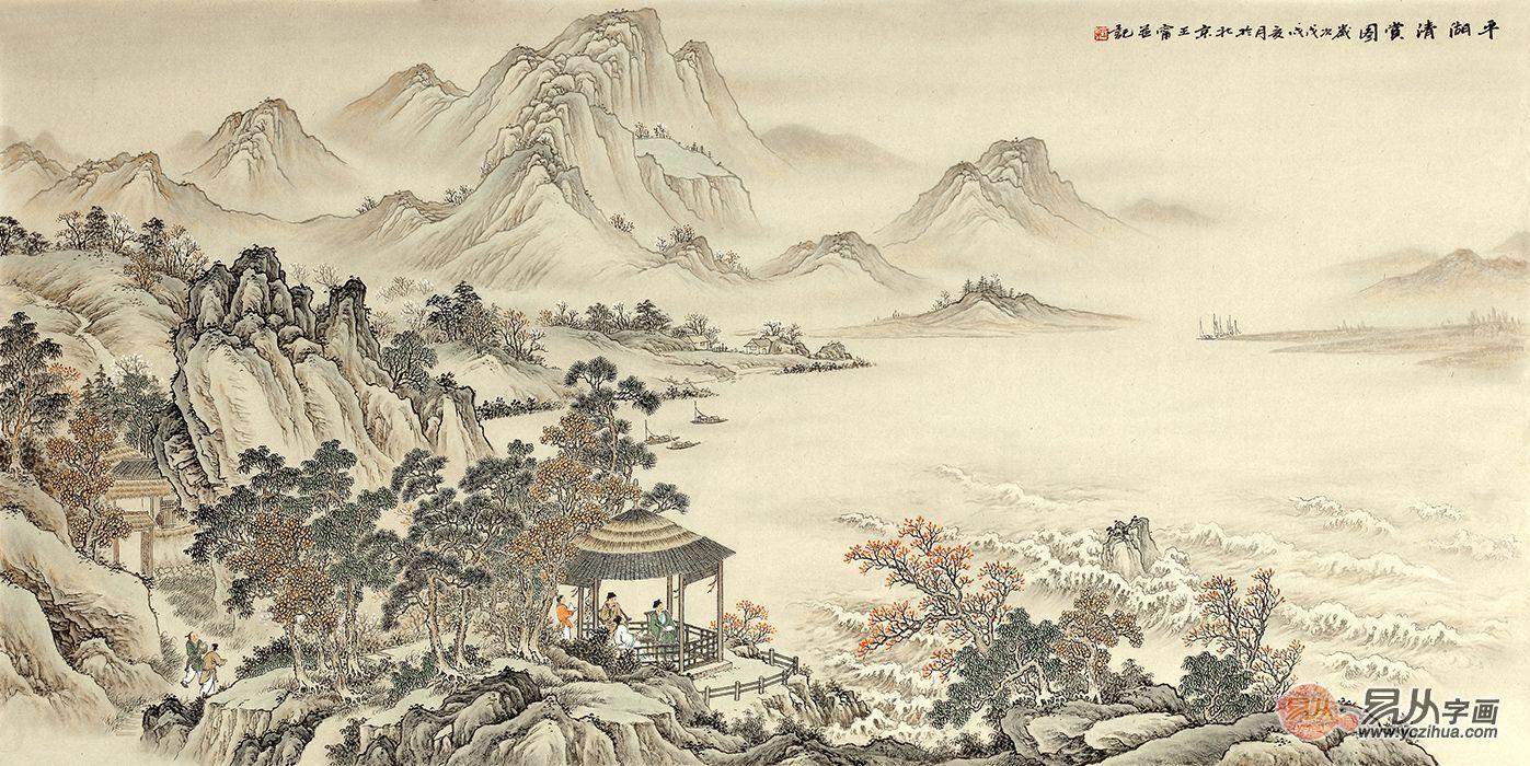 王宁仿古山水画手绘真迹《平湖清赏图》 画家的创作激情来源于自然