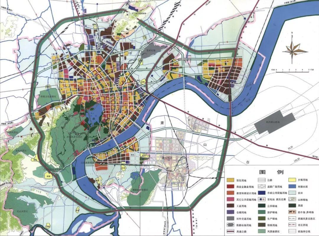 杭州市城市总体规划用地规划图图片