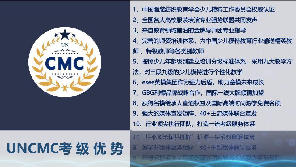 uncmc——专业少儿模特考级测评本周22号正式开考