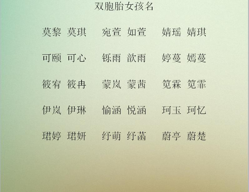 龙凤胎宝宝名字图片