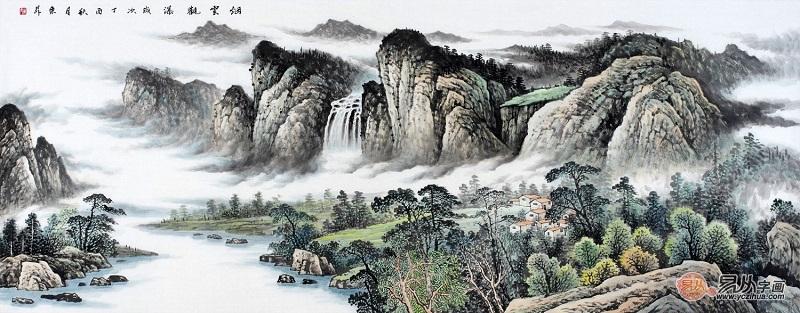 中国美协画家赵洪霞新品山水画作品《烟云观瀑》图片