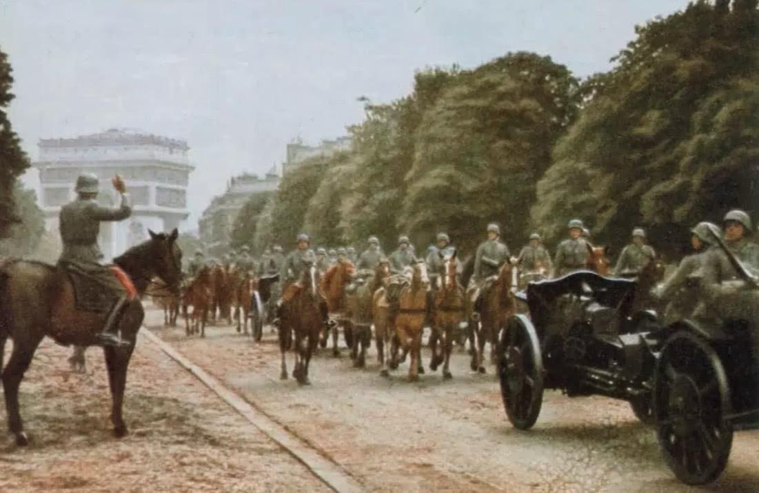 二战法国整版老照片:a整版帅气的隆美尔,德军在巴黎love爱电影完战役图片