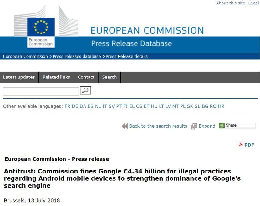 因为安卓系统这个坑谷歌被罚340亿 招来了欧盟反垄断调查