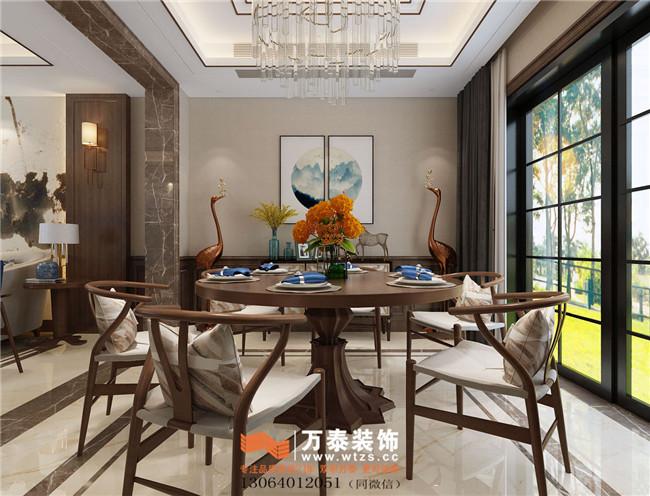 绿城玺园装修设计别墅新中式轻奢风格装修案例|济南万泰装饰图片