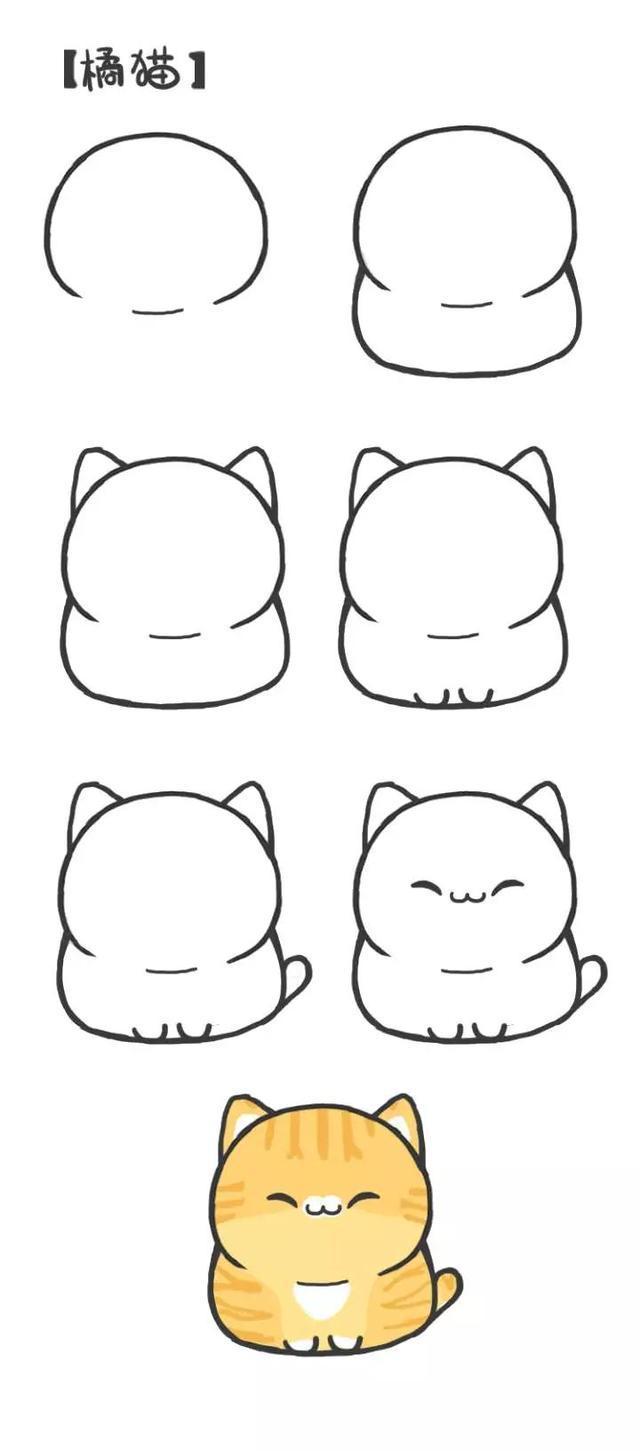 亲子简笔画 8种小猫咪,喵