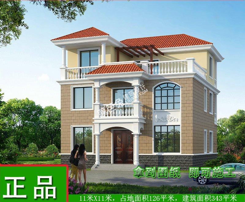 二三层半别墅设计农村自建房cad正版带露台效果图全套