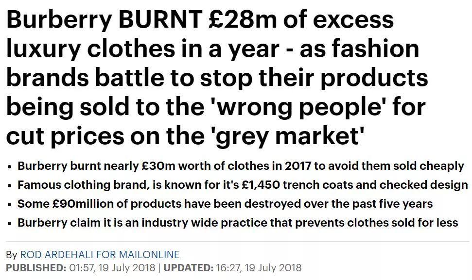 宁愿烧掉也不卖!Burberry销毁2个亿奢侈品 (图)
