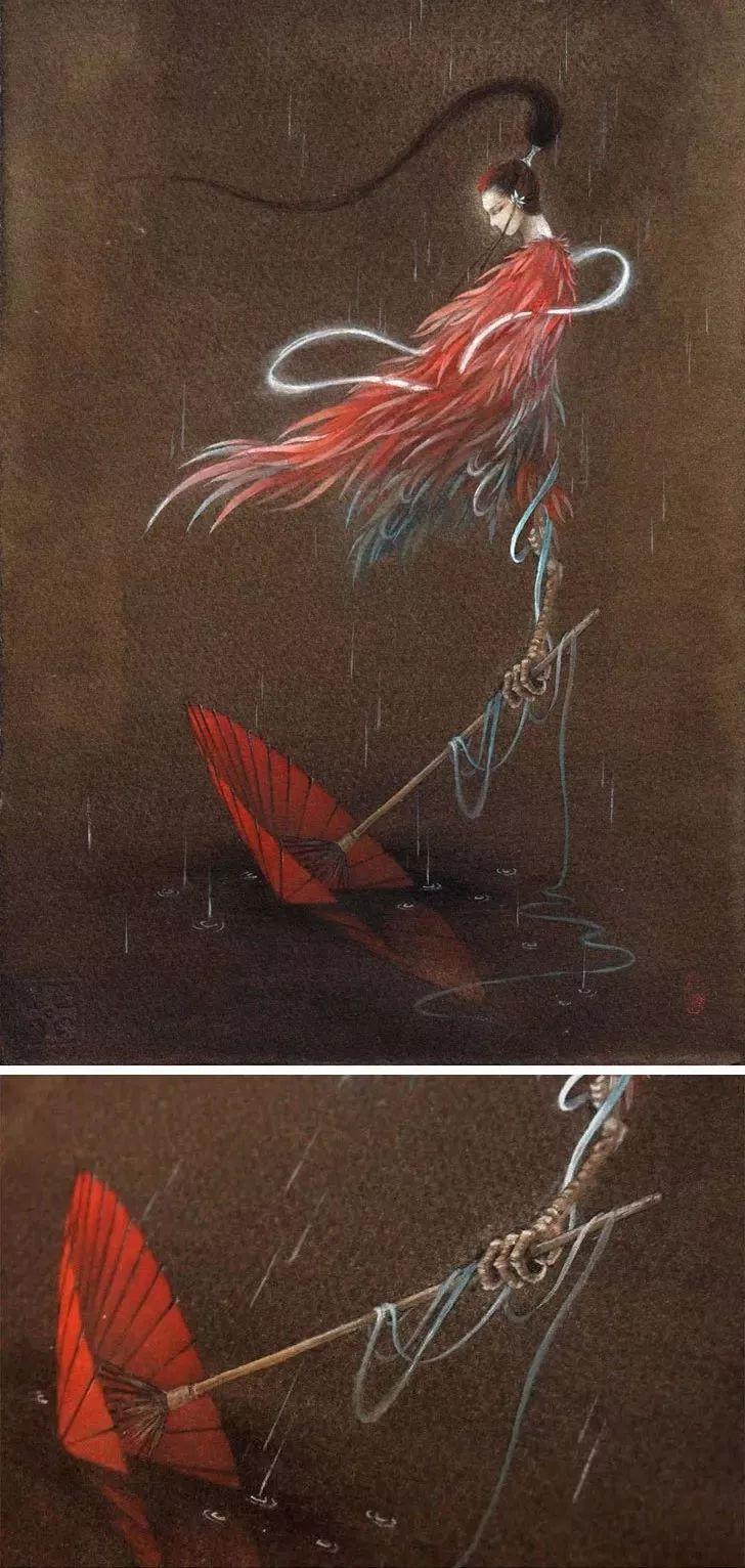 手绘九尾狐哭的图片