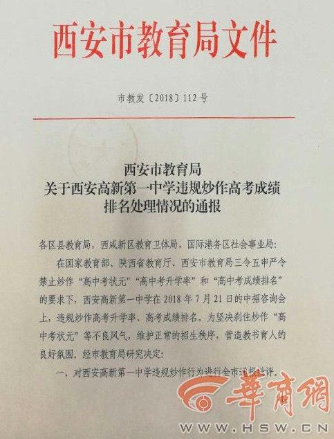 [原创]违规炒作高考成绩排名 西安一中学被教育局通报(图)