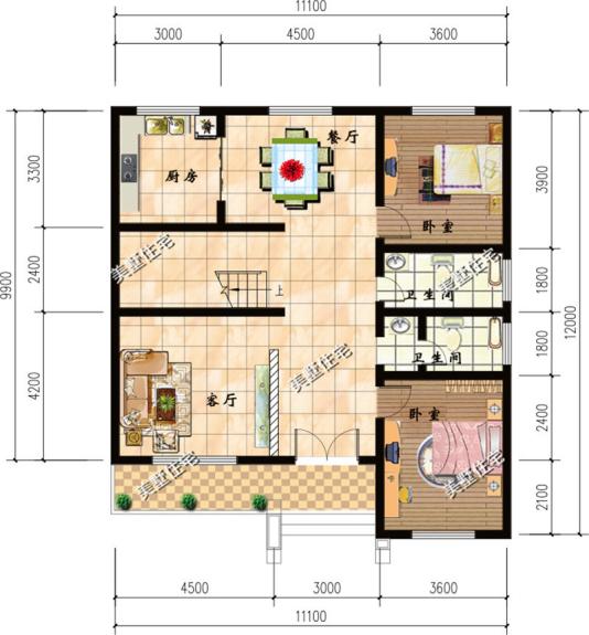11x12米小宅基地二层农村别墅,两套设计方案,你更喜欢图片