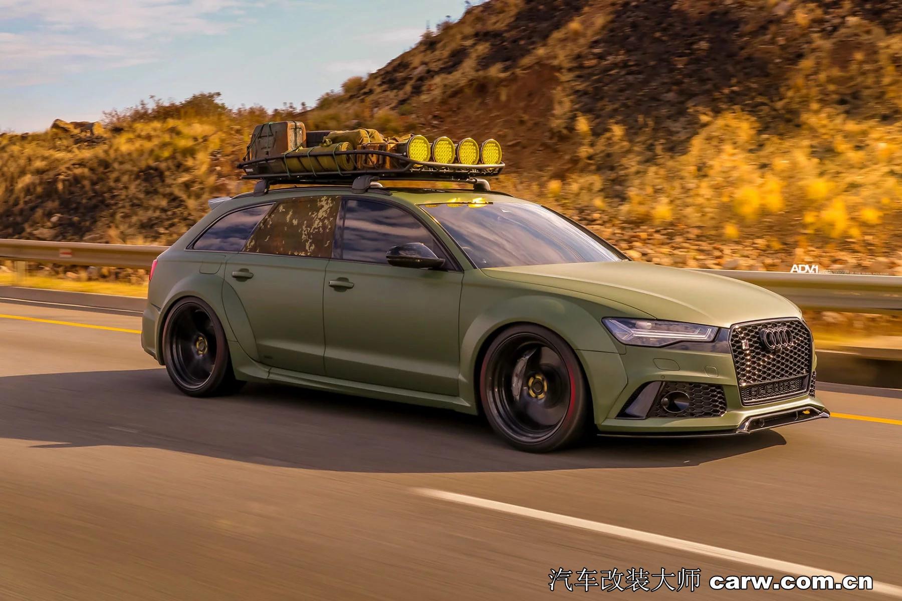 陆军绿色宽体奥迪RS6 Avant精彩改装大片