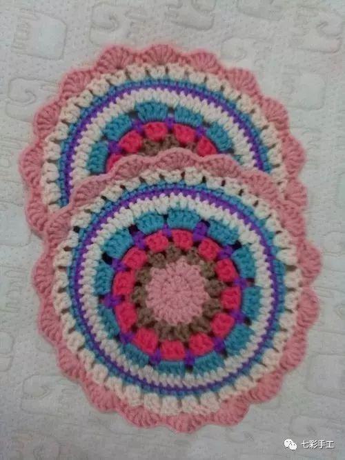 曼陀罗简单款花片钩针编织教程,杯垫抱枕毯子样样都离