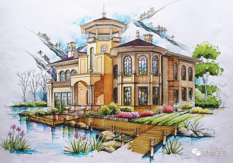 10套独栋乡村美墅手绘图,哪一款画出了你梦想的家?