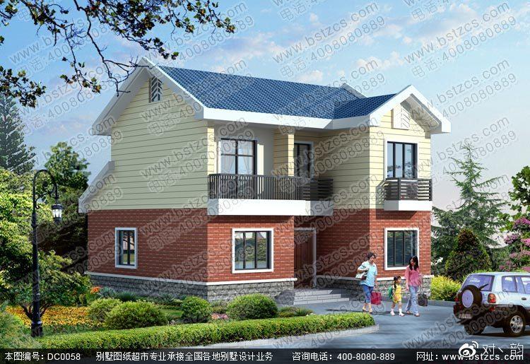 新别墅二层坡农村二层效果图及施工图别墅平顶屋顶图片