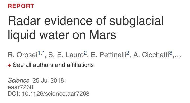 科学家首次确认火星发现液态水 直径约20公里的大面积水域