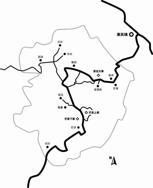 """景迈山地图,景迈山属于云南省澜沧拉祜族自治县惠民镇,是远近闻名的""""六大茶山""""之一"""