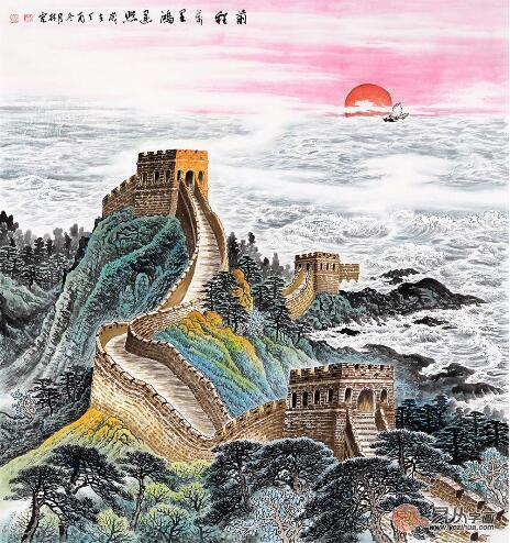 国画青绿长城 李林宏斗方画《前程万里鸿运照》