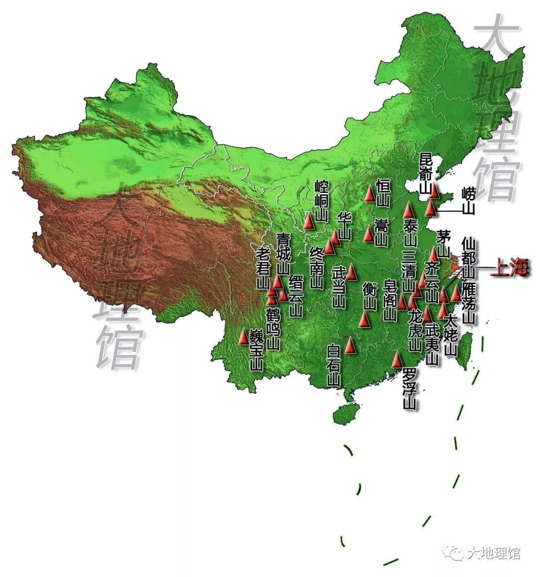 中国主要道教名山分布图图片