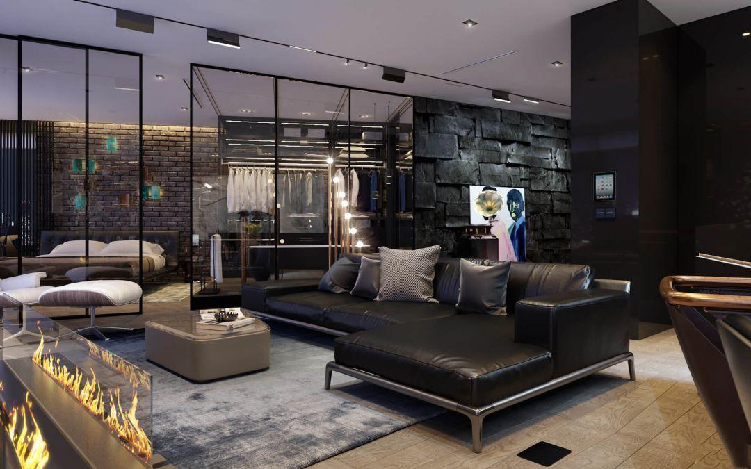 酷炫又英俊的高档黑,具有特性的室内设计风格