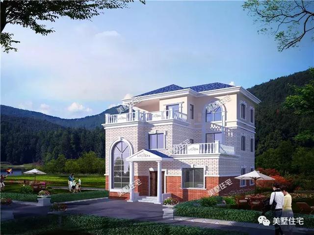 11x12米三层农村别墅,带神台和旋转楼梯,兼时尚与实用