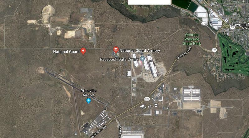 (图:卫星图上的国家防御武器库和测试场,位于prineville的facebook