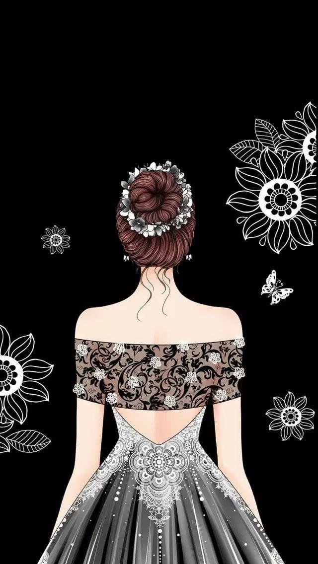 女孩背影礼服婚纱插画~可当头像!