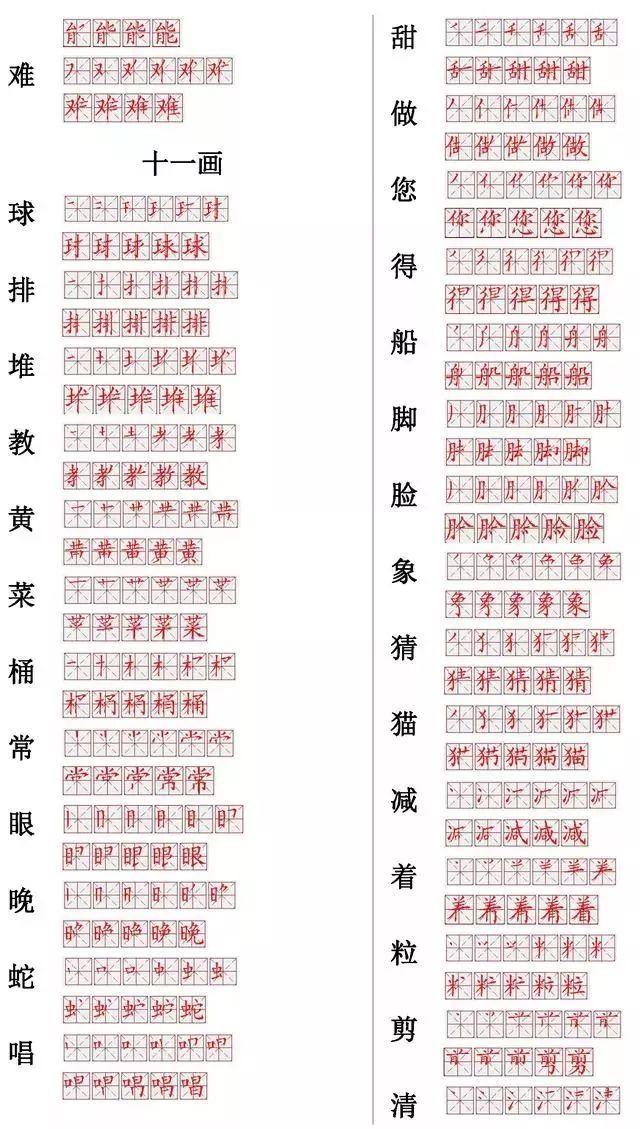 送 小学语文常用560个生字笔画笔顺表,强烈推荐 笔顺 小学 低