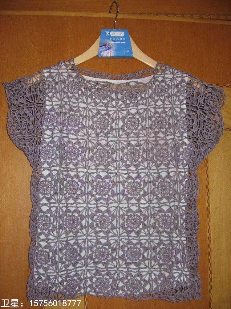 """短袖美衣的女款毛衣编织花样好像""""窗花"""",真好看!"""