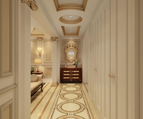 朗悦公园道1号2室2厅1卫1厨89平米新古典之皇家范儿装修设计效果图图片