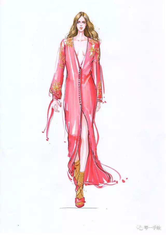 零一老师手绘服装效果图(马克笔/水彩/彩铅步骤图)