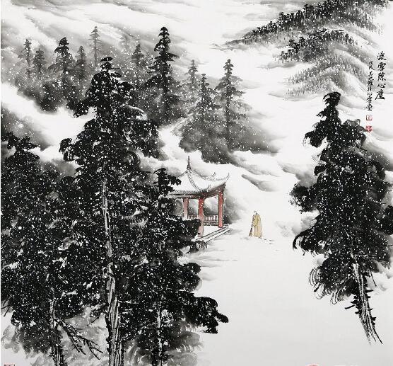 禅意国画 吴大恺最新雪景山水画《澡雪除心尘》图片
