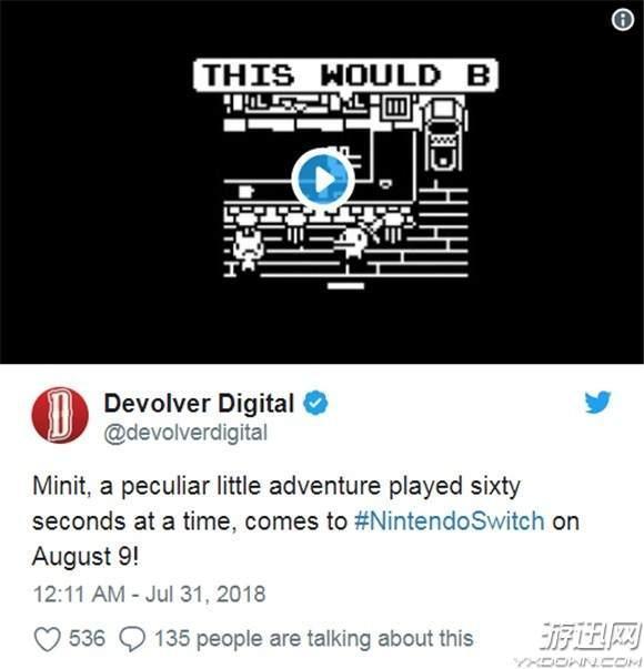 像素冒险游戏《Minit》即将登陆Switch 60秒的求生之路