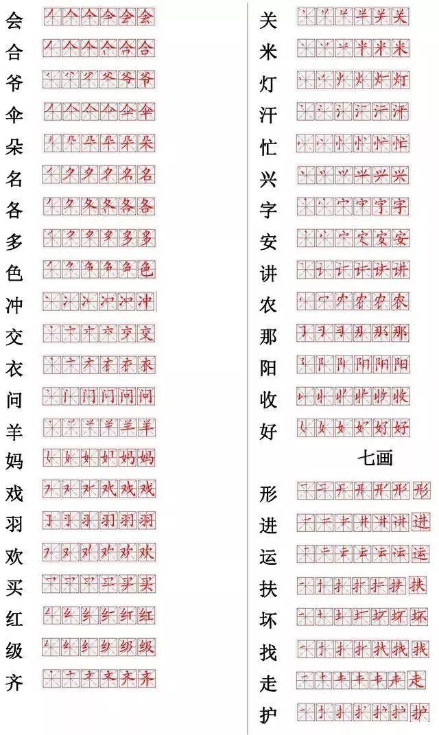 小学常用560个汉字笔画笔顺表,收藏练习 附偏旁部首详解