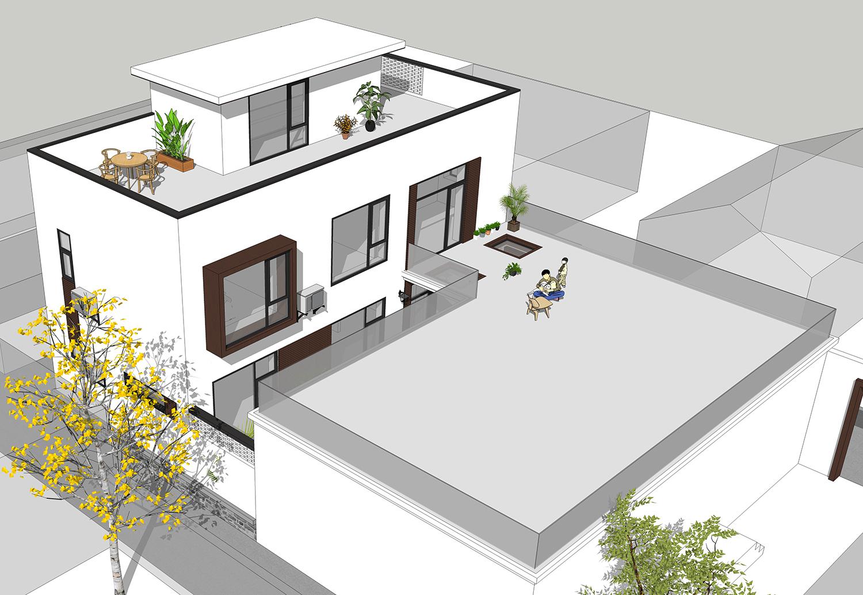 120平基地盖两层现代别墅还带庭院,北京昌平农村别墅图片
