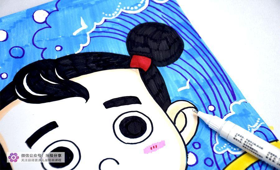 用浅蓝色的马克笔画出背景的浅蓝色图片