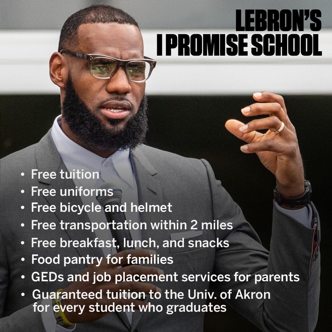 詹姆斯公布捐助学校8项免费福利 奥巴马夫人称赞