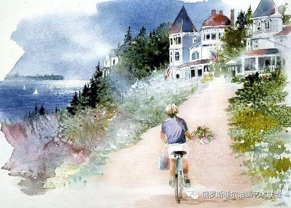 画家妮塔恩格尔风景水彩画作品欣赏
