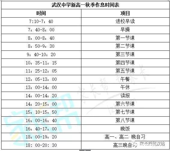 武汉18所高中v高中时间表收藏,提前汇总!高中林七图片