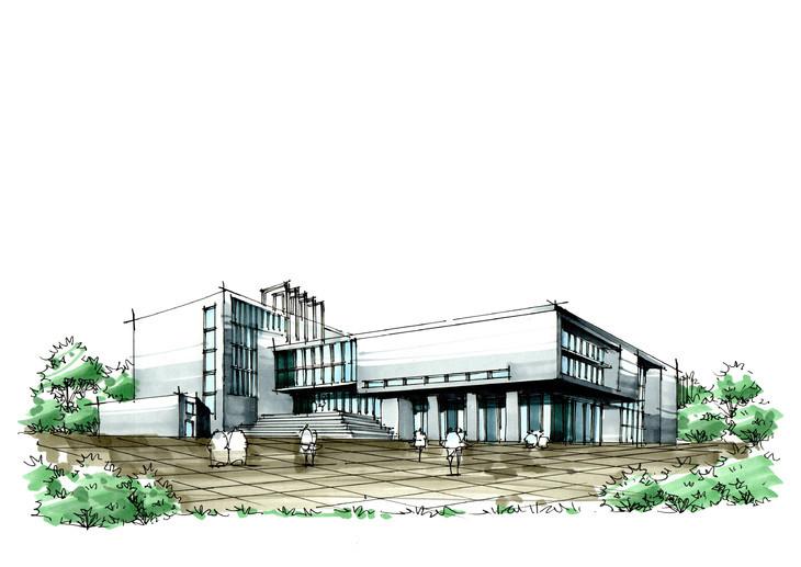 学校图书馆建筑手绘临摹作品昆明手绘培训