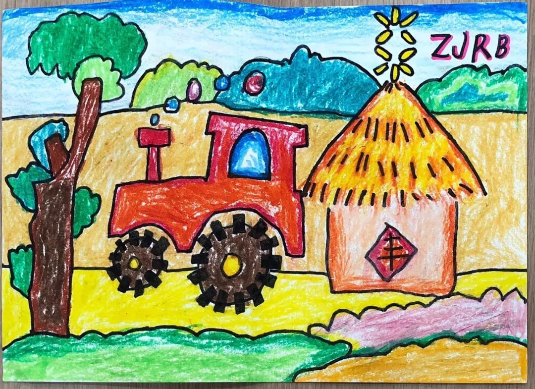 稻田丰收儿童手绘