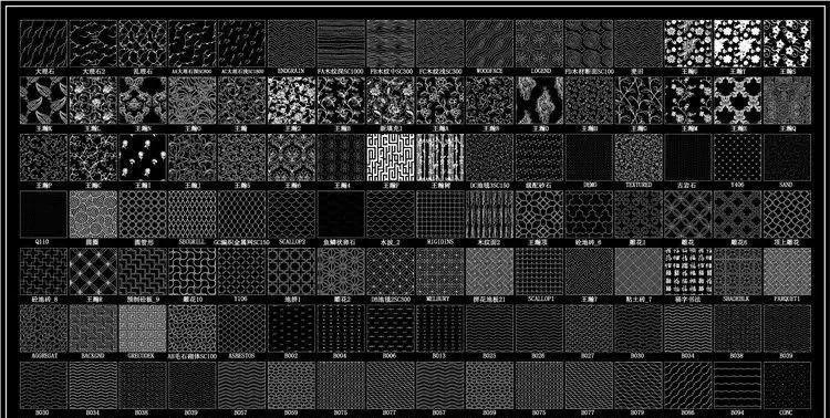 cad动态图库丨填充图案 字体共5599套图片