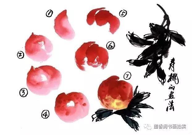 教育 正文  步骤一 先以淡曙红少调胭脂,侧锋点画桃子的左半 部分.图片