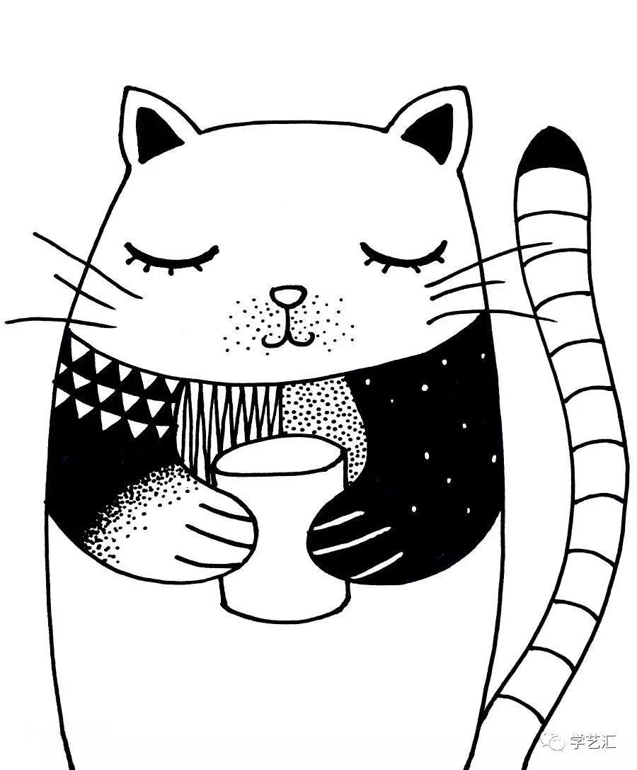 为睡着的小猫穿上花衣服 我们用黑白的点线面来代替色彩 点线面也有图片