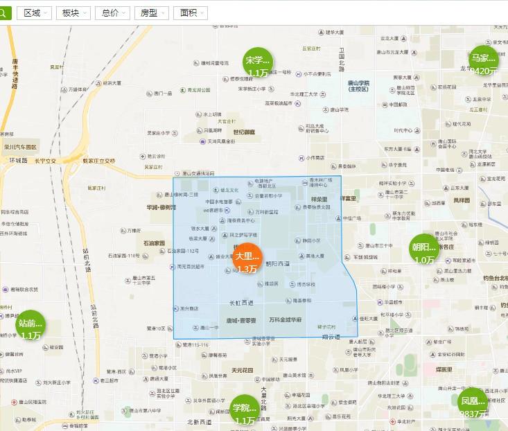 其次是路南区,均价9527元,第三名是丰润区,均价7999元,这里火车站图片
