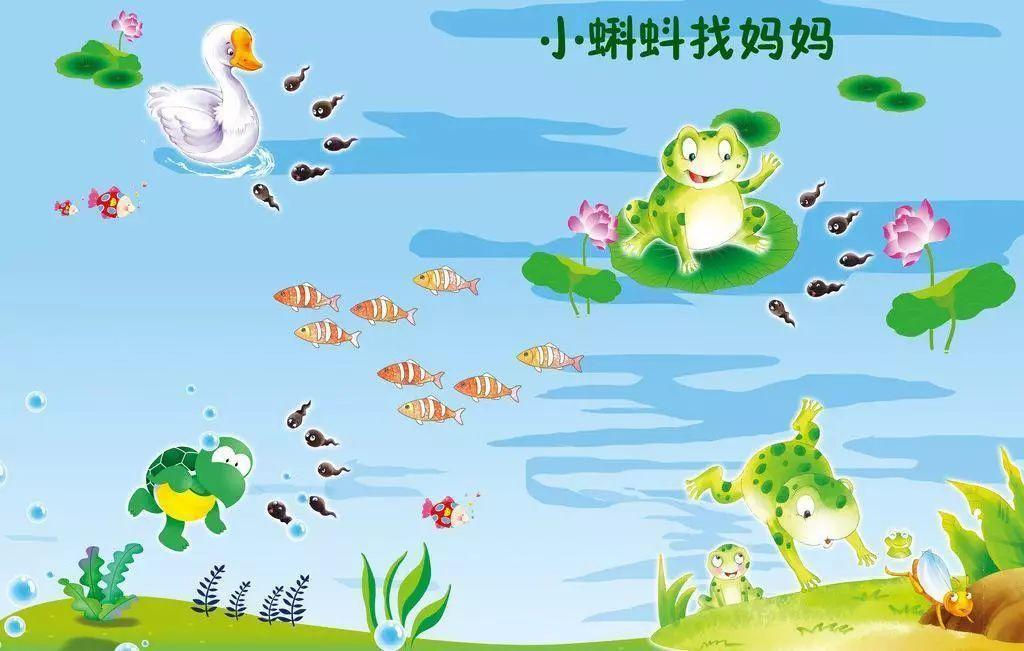 青蛙妈妈下的卵慢慢地活动起来,变成一群大脑袋长尾巴的蝌蚪,他们在水图片